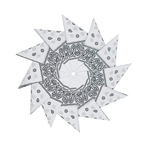 Junvena Cotton Bandanas 12 packs 22'X 22' Double Sides Printed Unisex Kerchief (White)