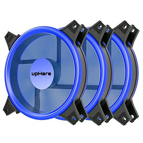 upHere Gehäuselüfter 120-LED Quiet Edition 120mm High Airflow 3 Stueck pro Packung Lüfter,3-Pin BLAU/B12CM3-3