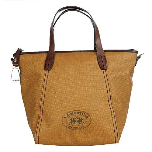 La Martina Tasche Damen Klein, Vintage Damentasche, Für Arbeit, Schule, Uni, Reise, Canvas beschichtet, Maße: 25 x 24 x 16cm, Senfgelb
