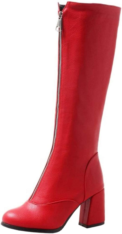 AicciAizzi Women Block Heel Knee Boots Autumn Winter