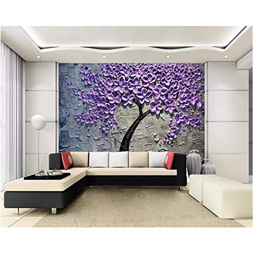 Gepersonaliseerd behang geldboom lila olieverfschilderij driedimensionaal messen, schilderij boom rijke TV achtergrond behang 3D 250 x 175 cm.