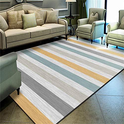 WQ-BBB Alfombras Salon Modernas Respirable Decoración a Rayas Simple Gris Azul Amarillo alfombras Salon Grandes 300X400cm