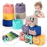 OleOletOy Baby Bausteine mit Stapelbecher Montessori Badewannenspielzeug Tier Blöcke und Becher Beißspiel 12stk. Set