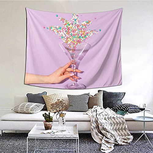 Tapiz para colgar en la pared de cristal de vino rosa con perlas de gitsophila, para colgar en la pared, para decoración del hogar, para dormitorio, collage y oficina, 152 x 152 cm
