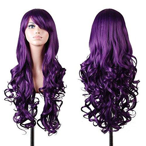 Kissparts Frauen Perücken 80cm Dunkles Violett gewellt Cosplay Perücke mit Perücke Kappe und Kamm