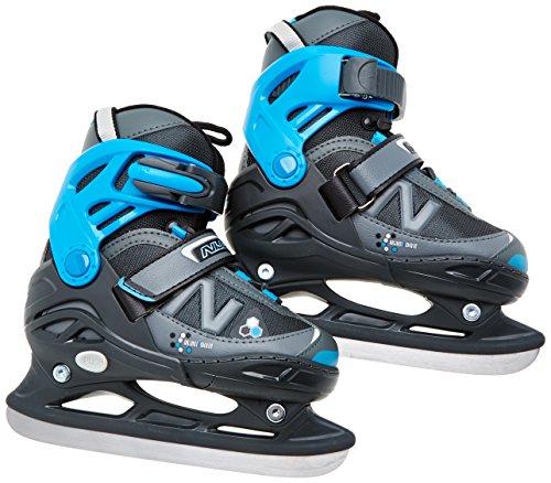 Nijdam Kinder Eishockeyschlittschuhe verstellbar Icehockey Skates, Anthrazit-Grau-Blau, 35-38, 1018488