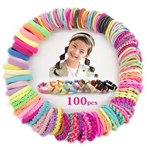 100 Stück Haargummis Mädchen, Myhozee 10 Stile Scrunchies Multicolor Haar Gummibänder Haarbänder Elastischer Haarschmuck Haarseil Pferdeschwanz Haarband Set für Kinder, Babys, Mädchen & Frauen