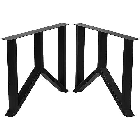 "Metal Table Legs Cast Iron Dining Table Legs,28"" Height 35"" Wide Industrial Bench Legs Black Desk Legs,Rustic Heavy Duty DIY Furniture Legs,Square Tube Coffee Table Legs 2 PCS"