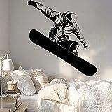 Ofomox Snowboard Vinilo Tatuajes de Pared decoración de la habitación de los niños Deportes de Invierno Pegatinas de Pared Snowboard Interior stickers86x77cm
