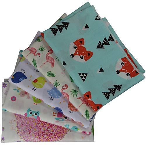 aufodara 5 Stück Patchwork Stoffe Stoffpakete 50 x 50cm Baumwolle Tuch DIY Handgefertigte Nähen Quilten Stoff Baumwollgewebe Farbmuster Verschiedene Designs