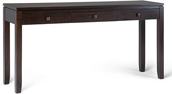 Simpli Home AXCCOS CONW CF Cosmopolitan Solid Wood 60 Inch Wide Contemporary Wide Console Sofa Table In Coffee Brown