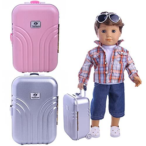 ZOYLINK Maleta Para Muñecas Color Sólido 2pcs Pvc Moda Plástico Decorativo Mini Muñeca Estuche De Viaje Equipaje Para Muñecas Para Muñecas De 18 Pulgadas Niños