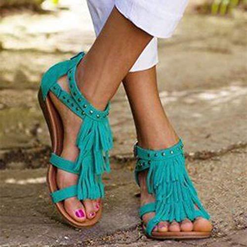 XQYPYL Damen Sommer Freizeit Sandalen Ethnic Style Clip Toe Fransen Sandalen Sandalen mit Keilabsatz Reißverschluss Schuhe,01,41