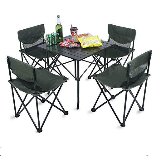 Peng sounded Klapptisch Leichte Outdoor-Camp Tragbares Klapptisch Net Stühle Set W/Carrying BAG4 Stühle + 1 Tabelle Angeln Wandern (Color : Large Table, Size : 4 Chair-L)