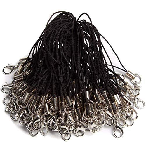 YEFAF DIY Handyanhänger, 100 Stücke Karabinerverschluss Handy Lanyard für selbstgebastelte Schlüsselanhänger DIY Schmuck Zubehör zum Basteln bestens geeignet (Schwarz)
