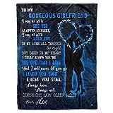 Personalized Boyfriend Name to My Gorgeous Girlfriend Christmas Fleece Sherpa Blanket Cute Sentimental Xmas Birthday Anniversary Custom Customized Aniversity I Appreciate You Presents