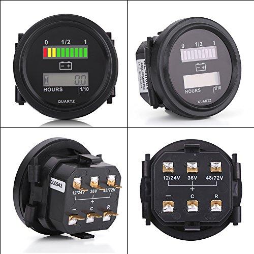 12V//24V//36V//48V//72V LED Digital Battery Indicator Gauge with Hour Meter Aramox Battery Meter