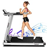 FUNMILY Treadmill, 2.25HP Folding Electric Treadmills with Large Desk and Heavy Duty Steel Frame, 12 preset Programs, Best Walking Running Exercise Machine for Home Gym Office Cardio Use (Gray)
