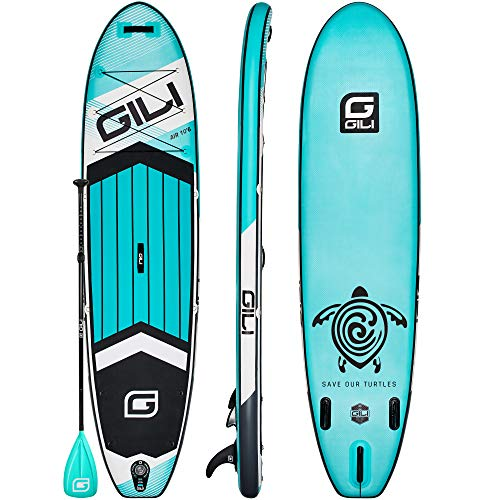 GILI All Around Inflatable Stand Up Paddle Board Package | 10'6 Long x...