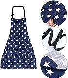 WELLXUNK Schürze,Küchenschürze Damen Schürze Kochschürze,Schürze mit Tasche für Frauen Kochen Arbeit Hausarbeit,zum Kochen oder Backen (Marine) - 3