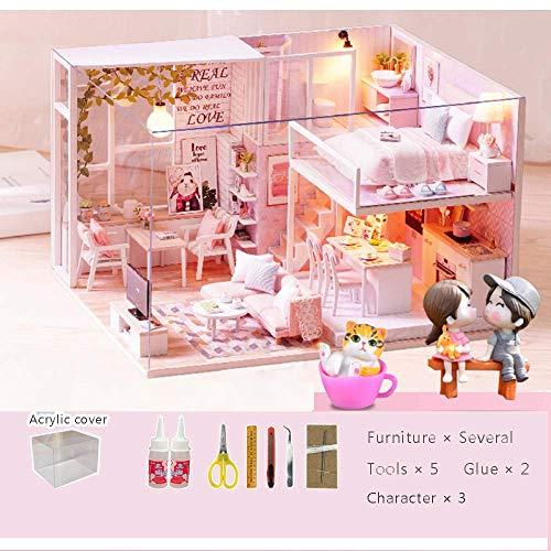 LXDDP Kits de casa de muñecas en Miniatura de Bricolaje Casa Rosada con Kits de Muebles, Kits de Modelo de casa de Madera Juguete para Adultos