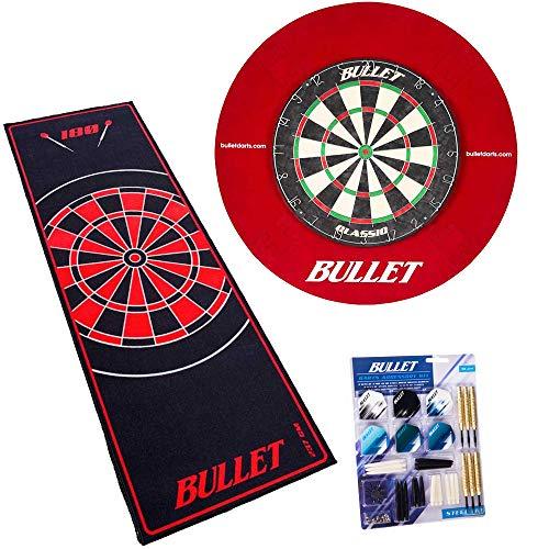 BULLET-Darts Großes Dart Turnier Set, 90 teiligem Steeldarts-Set, Surround Ring und einem professionellem Teppich - Rot/Rot