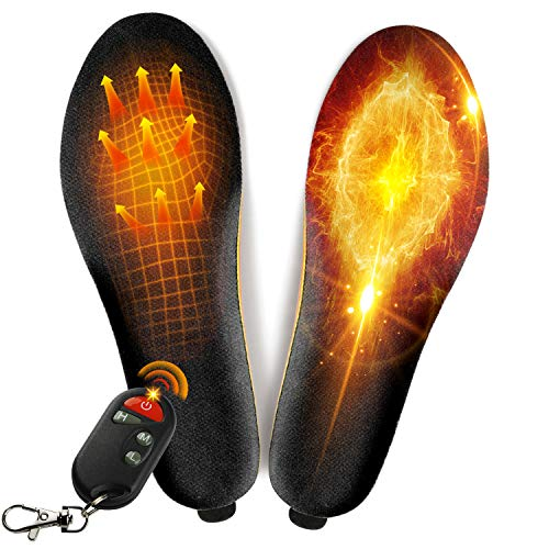 winna Rechargeable Heated Insoles, Wireless Foot Warmer with Remote Control (3 Temperature Settings) for Women Men Outdoor Fishing Hiking Camping (L-Women's 10-13, Men's 8-13)