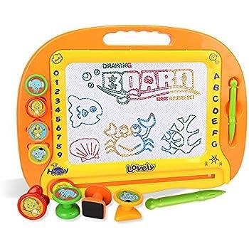 お絵かきボード 大画面(38*28cm) 子供おもちゃ 磁石ボード らくがき教室 知育おもちゃ マグネットスタンプ 繰り返し描ける
