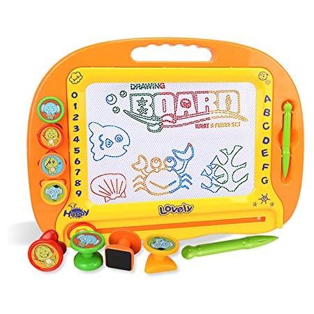 SASUM お絵かきボード 大画面(38*28cm) 子供おもちゃ 磁石ボード らくがき教室 知育おもちゃ マグネットスタンプ 繰り返し描ける オレンジ 38*28*4.5cm