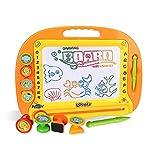 お絵かきボード 大画面(38*28cm) 子供おもちゃ 磁石ボード マグネットスタンプ 繰り返し描ける