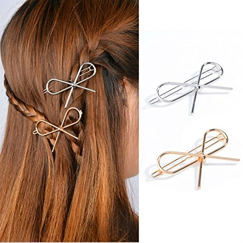 AKOAK Metal Bow Copper Hair Clip Bobby Pin Ponytail Holder Hair Accessories for Women and Girls(2 Pcs/Lot,1 Gold & 1 Silver)