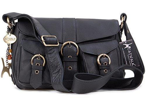 Catwalk Collection Handbags - Cuir Véritable - Sac à Main/Sac Bandoulière/Sac Besace/Messenger/Sac Porté Croisé - Femme - LOUISA - Noir