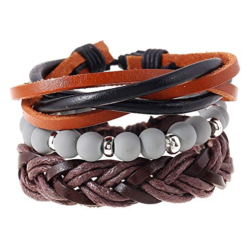 RQZQ Armband 3 Teile/Satz Geflochtenes Lederarmband Dunkelbraun Espresso mehrschichtige armbänder Anzug Grau Farbe perlen Manschette für Frauen Geschenk