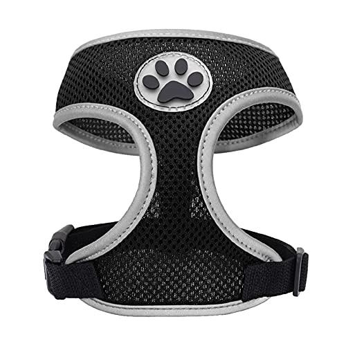 LHAXL Medio de arnés para Perros Pequeño Perro Transpirable arnés Mascota Reflectante Cachorro Chaleco arnés Ajustable pequeño y Mediano Arnés para Perros (Color : Black, Size : Medium)