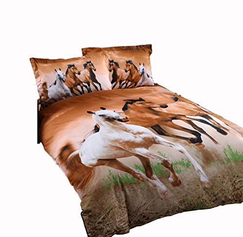 Galloping Horse Bedding Sets, 100% Polyester 3d Bedding Sets, 4pcs with Duvet Cover, Bed Sheet, 2pillow Case (Comforter Not Included) Twin Size