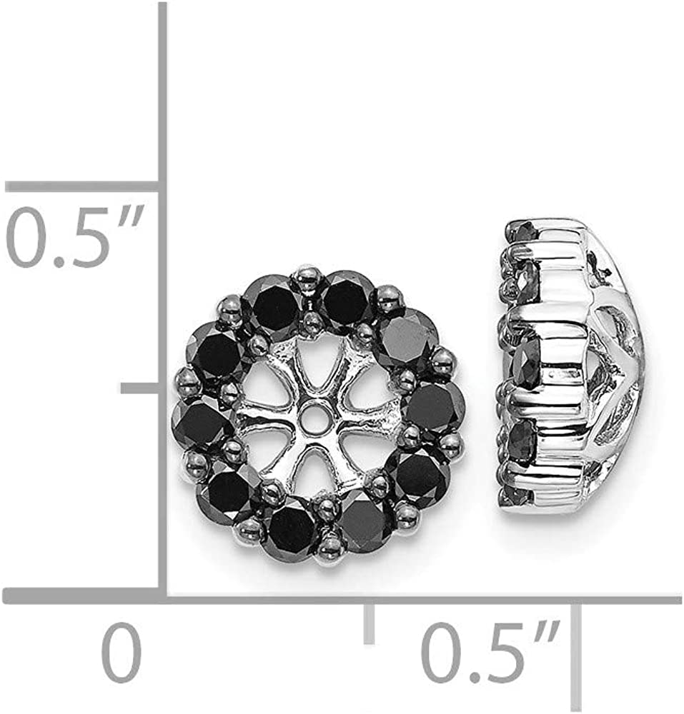Solid 14K White Gold Black Diamond Earring Jackets 9mm (.606 cttw.)