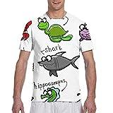 Camisetas para Hombres Acuario Dibujos Animados Pulpo Delfín Tiburón Ballena Hombres Casual Básico Vintage Activo Manga Corta Cuello Redondo Camiseta