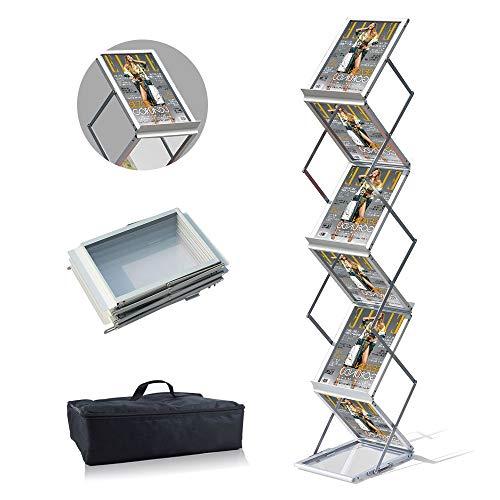 VAIIGO 36.5x25x155cm A4 Draagbare vouwen Brochure Display Stand Dubbelzijdige Planken met 6 Zaken, Magazine Rack Trade Show A4 ZILVER