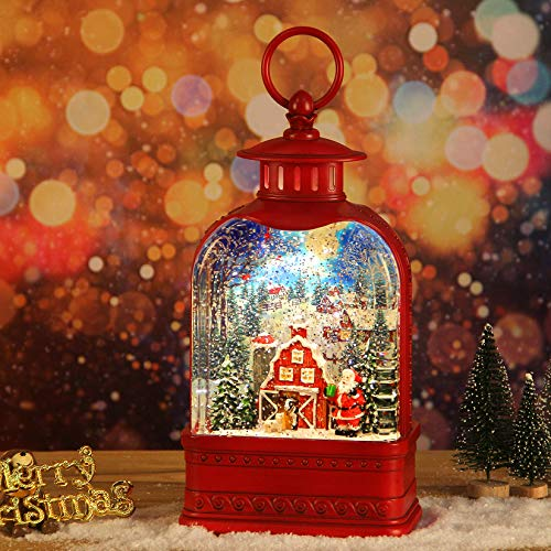 CaiFang Christmas Snow Globe - Musical Christmas Snow Globe Decoration, Lighted Water Lantern with Swirling Glitter, Musical Snow Globe for Christmas Home Decor
