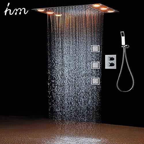Duschsystem,Multifunktional Dusche mit konstanter temperatur,360x500 mm,Regen, 304 Edelstahl,Handbrause,Rainshower Brausegarnitur (HM-836004)