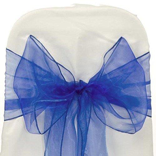 MDS 100 PCS Royal blue Organza Chair Sashes / Bows sash for Wedding or Events Banquet Decor Chair bow sash