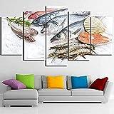 5 paneles de arte de pared foto en lienzo impresiones imagen decorativa sala de estar tipos de habitaciones para niños póster modular imagen modular de mariscos frescos