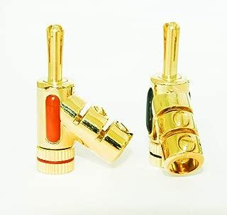Eastone E0846 Angle Banana Plug 45 Degree Lock in Jack Connector Audio Adapter (5 Pairs)