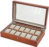 Uhrenschatulle mit 12 Fächern, Holz-Uhren-Organizer mit Glasvitrine für Damen und Herren, Geschenk