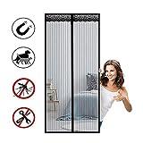 マグネットフライスクリーンバルコニードア、フライカーテンマグネットカーテンドア 防虫ドアカーテンマ、ドリルなしで簡単に組み立て可能、バルコニードア/パティオドア用。