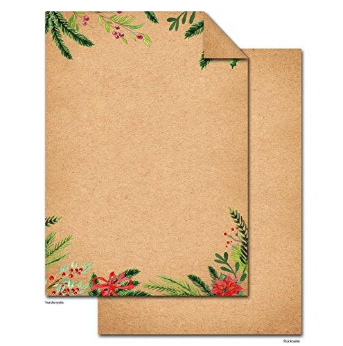 50 Blatt Weihnachtspapier natur rot grün Briefpapier DIN A4 Weihnachten Briefbogen Weihnachtsbriefpapier VINTAGE Nostalgie Papier weihnachtlich für Weihnachtsbriefe Kunden