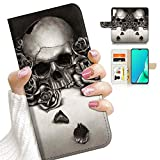 for Samsung Note 10+, Galaxy Note 10 Plus, Designed Flip Wallet Phone Case Cover, A23213 Cool Skull 23213