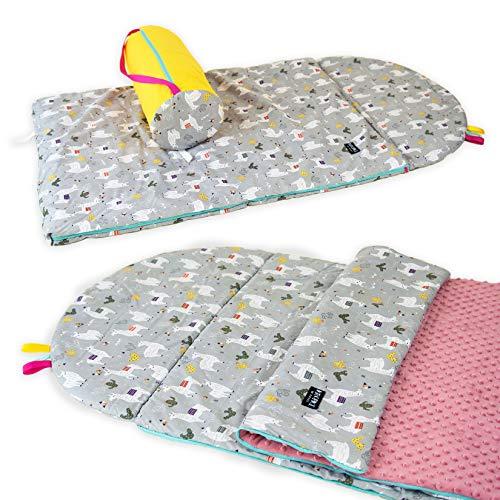Babyboom Schlafsack für Kinder, Krippe, Kindergarten, Zuhause, auf Reisen/ 100% Baumwolle + MINKY / 75x120 cm + Kissen inkl. Tasche/handmade in EU (Lamas - rosa)