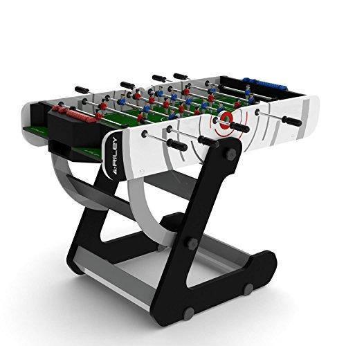 Riley VR90 - Profi Tisch-Fußball, Kickertisch, klappbar, platzsparsam zusammenklappbar, 2 Bälle, 1-2-5-3 Aufstellung, stabile Beinkonstruktion, leicht zu reinigen, schwarz-weiß