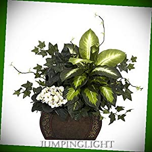 JumpingLight 6684 African Violet, Dieffenbachia & Ivy with Chest Silk Plant Artificial Flowers Wedding Party Centerpieces Arrangements Bouquets Supplies